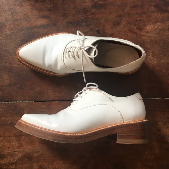 Acne Shoes - ACNE STUDIOS Low Gloss White Pointed Oxford